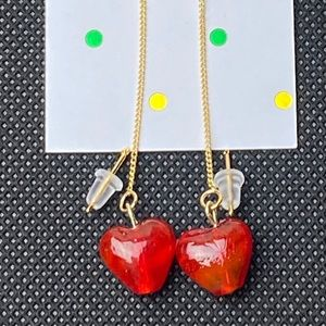 Red Heart Gold Tone Dangle Earrings